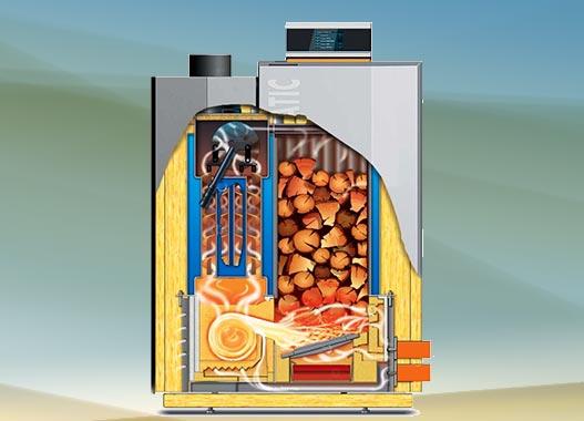 Stückholzkessel mit Holzvergaser-Technologie